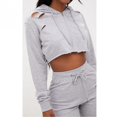 Long Sleeve Grey Hoodie Long Pants Sets