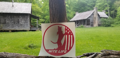 NITE LIFE DECAL RED 6 inch