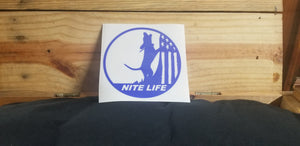 NITE LIFE DECAL BLUE 6 INCH
