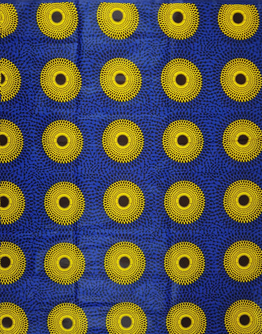 Blue and Yellow Wax African Print Fabric