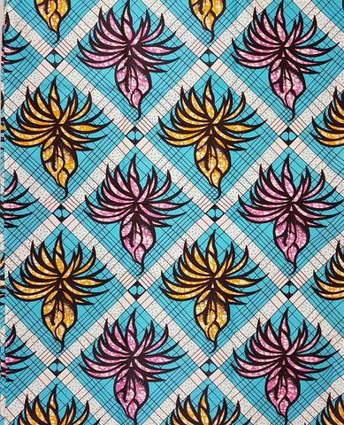 Afefede Light Blue Yellow Pink African Print Fabric