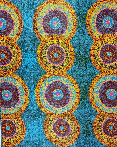 Blue Orange Purple Circles African Print Fabric