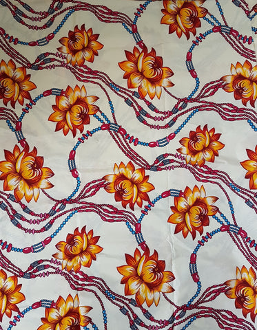 Asempa Beige Off White Flowers Orange African Print Ankara Fabric
