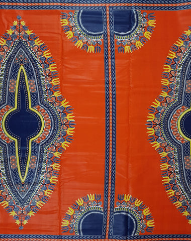 Orange and Blue Angelina African Print Fabric
