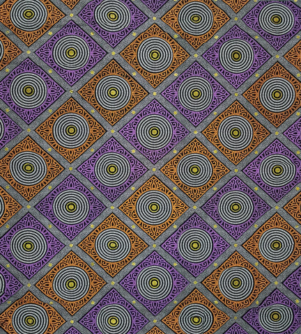 Madepa Purple, Orange Gold African Print Treasure Fabric