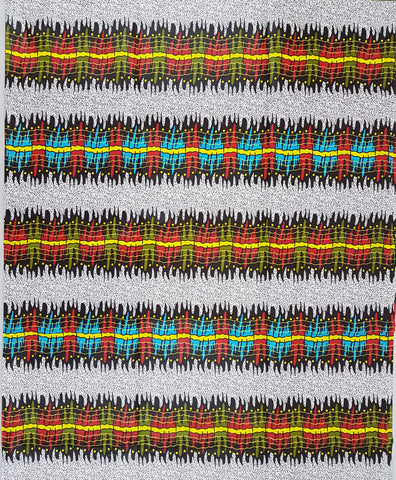 White Red Yellow Green Wax African Print Ankara Fabric