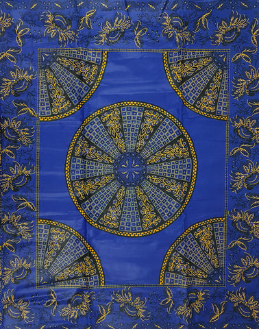 Akufo Ahene fi suro Blue and Yellow African Print Wax Fabric