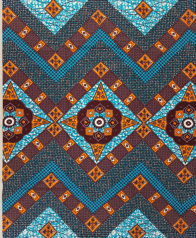 Orange and Turquoise African Wax Print