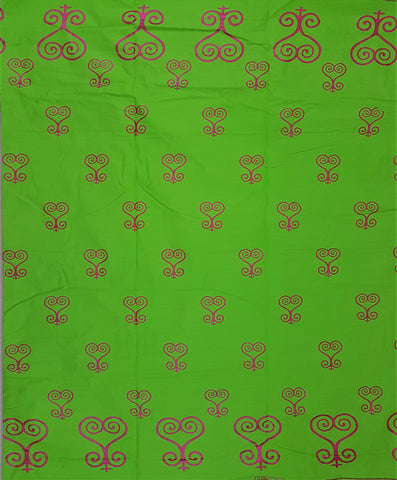 Green Metallic Pink Hearts Adinkra Africa Print Fabric