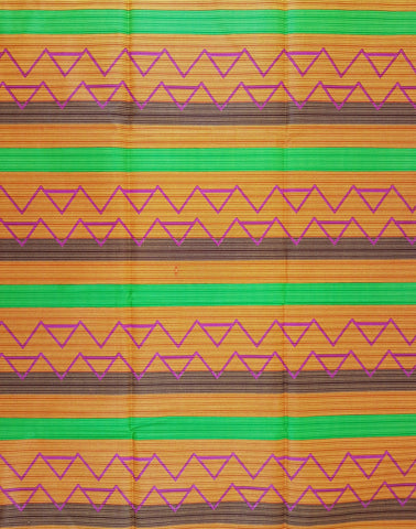 Orange Green Brown African Print WaxFabric
