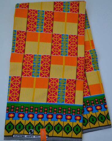 Orange Kente African Print Wax Print