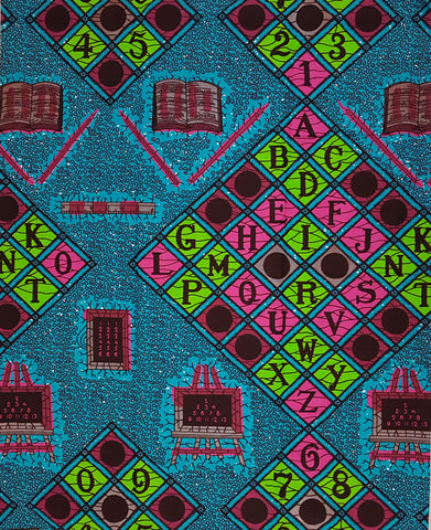 ABC Turquoise, Pink, Green African Print Wax Fabric