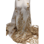 White Tulle Gold Embroidery Pearl Tulle Net Lace Fabric