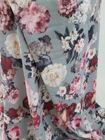 Grey Flowers Print Georgette Fabric