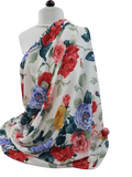 White with Flowers Print Georgette Fabric