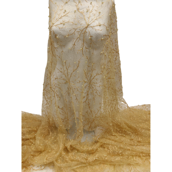 Gold Embroidery Pearl GlitterTulle Net Lace Fabric
