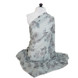 Grey Floral Pattern Print Chiffon Fabric