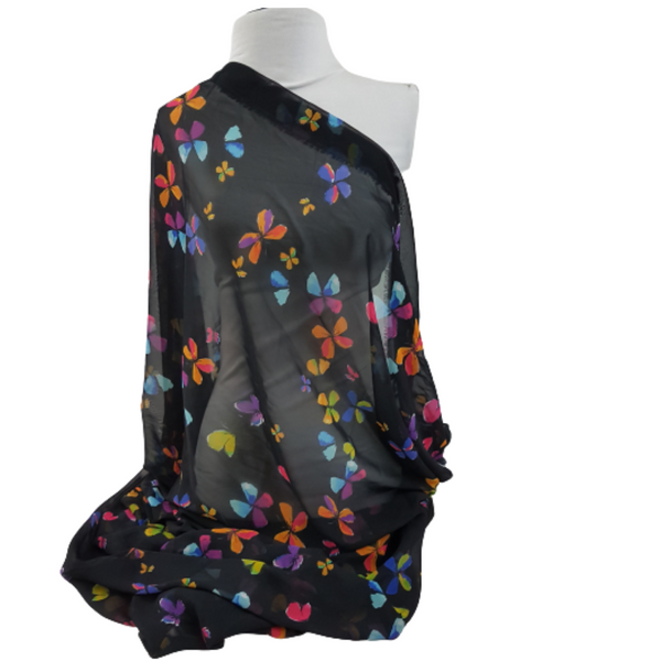 Black Colourful Butterfly Pattern Print Chiffon Fabric
