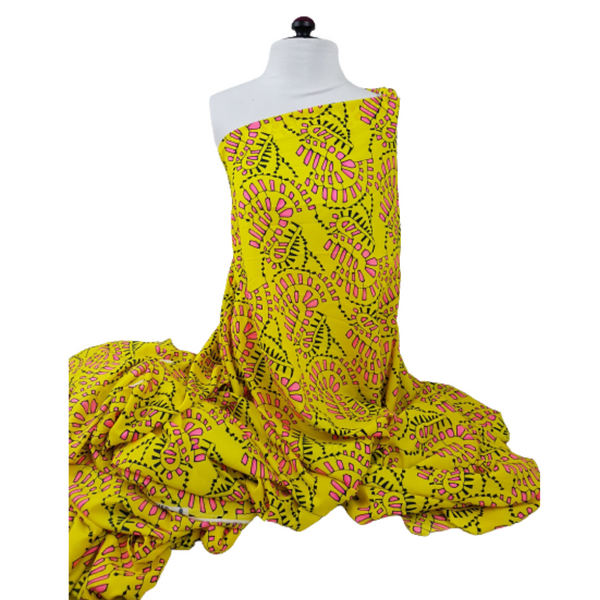 Yellow and Pink Abstract Print Georgette Crepe Fabric