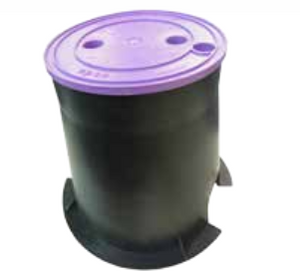 Medium Round 150mm Top x 215mm Bottom x 220mm Deep Reclaimed Water Valve Box (Lilac Lid)