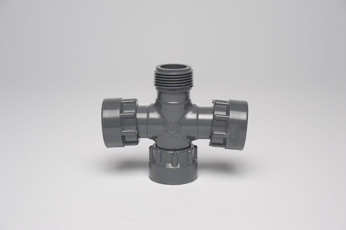 Dura Manifold Cross (Swivel x BSP x Swivel x Swivel)
