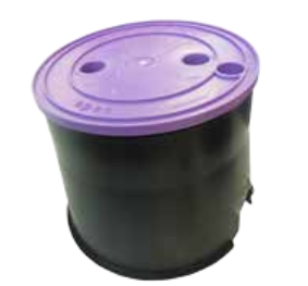 Small Round 165mm Top x 185mm Bottom x 185mm deep Reclaimed water Valve Box(Lilac Lid)