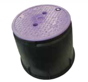 Large Round 235mm Top x 335mm Bottom x 255mm Deep Reclaimed Water Valve Box (Lilac Lid)