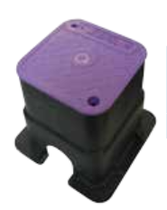 Small Square 150mm Top x 210mm Deep Reclaimed water Valve Box (Lilac Lid)