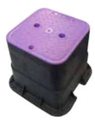 Medium Square 215mm Top x 260mm Deep Reclaimed Water valve Box (Lilac Lid)