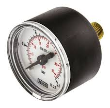 50mm Black Steel Dry Fill Pressure Gauge with 1/4