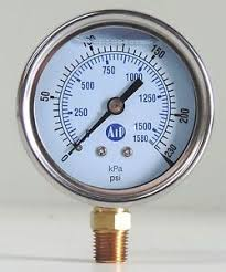 "50mm Stainless Steel Glycerin Filled Pressure gauge with 1/4"" Bottom Entry"