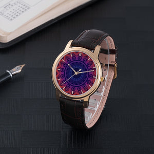 Red Mandala Waterproof Watch With Leather Band