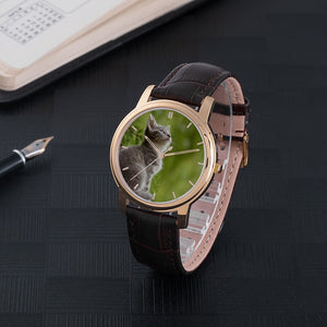 Kitten Waterproof Watch With Leather Band