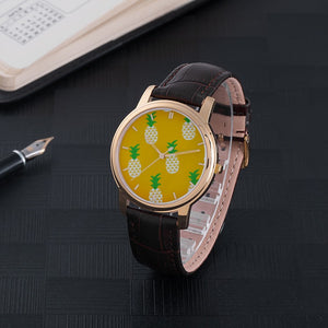 Pineapple Waterproof Watch with Leather Band