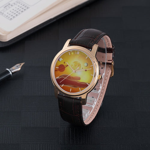 World In Your Hands Waterproof Watch with Leather Band