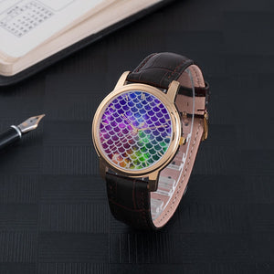 Mermaid Scales Waterproof Watch with Leather Band