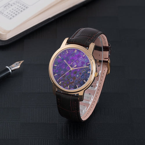Purple Metallic Waterproof Watch With Leather Band