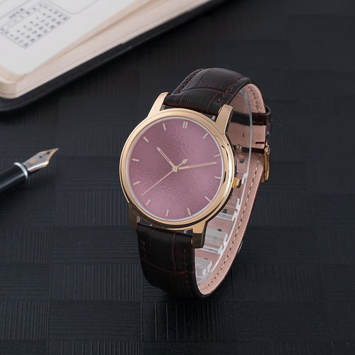 Rose Gold Waterproof Watch With Leather Band