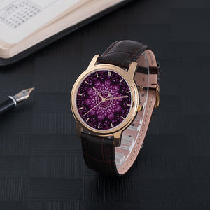 Purple Lotus Waterproof Watch with Leather Band