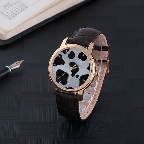 Cow Skin Print Waterproof Watch with Leather Band
