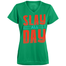Slay All Day Ladies V-Neck - Tempting Tees Graphic T-shirts