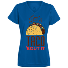 Let's Taco Bout it Ladies V-Neck - Tempting Tees Graphic T-shirts