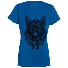Mandala Wolf Ladies V-Neck - Tempting Tees Graphic T-shirts
