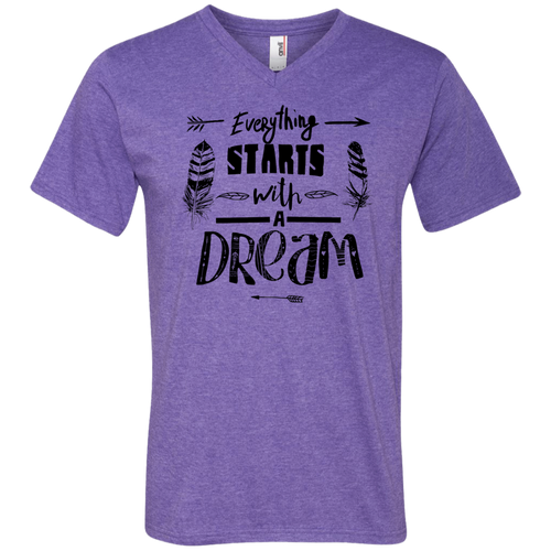 It Starts With A Dream Men's V-Neck - Tempting Tees Graphic T-shirts