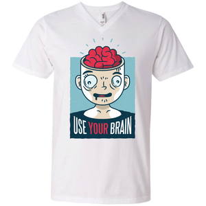 Use Your Brain Men's V-Neck T-Shirt - Tempting Tees Graphic T-shirts