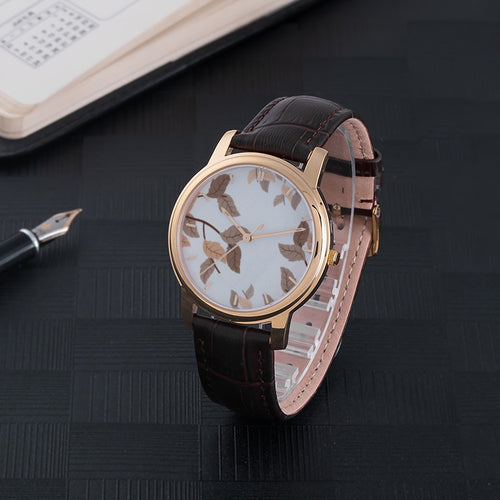 Autumn Leaves Waterproof Watch with Leather Band