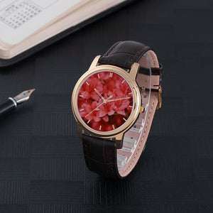 Red Azaleas Waterproof Watch with Leather Band
