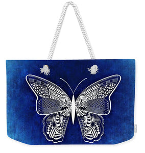 Blue And White Butterfly - Weekender Tote Bag
