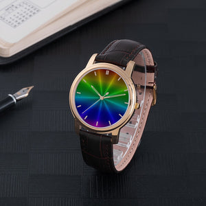 Rainbow Waterproof Watch With Leather Band