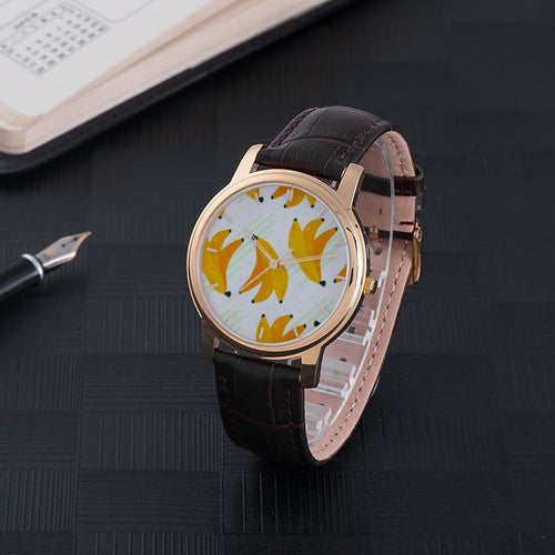 Bananas Waterproof Watch with Brown Leather Band